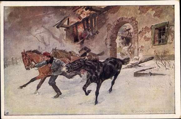 Künstler Ak Jung, Fr., Korporal Franz Vesely des Landwehr Ulanenregimentes Nr. 5 rettet die Pferde
