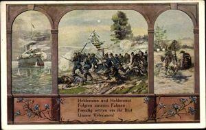 Passepartout Ak Heldensinn und Heldenmut folgten unseren Fahnen, Kriegsschiff