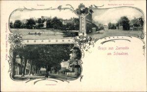 Ak Zarrentin am Schaalsee, Marktplatz, Breitestraße, Amtsstraße, Seeseite