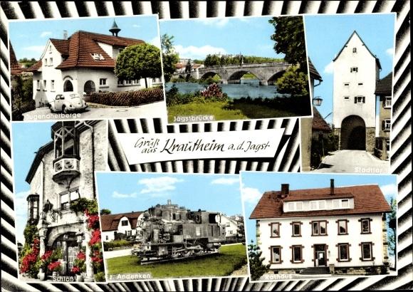 Ak Krautheim an der Jagst in Baden Württemberg, Jugendherberge, DJH, Brücke, Tor, Eisenbahn, Schloss