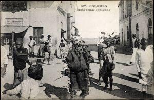 Ak Colombo Ceylon Sri Lanka, Mascarade Indienne, Kostümierter, Straßenpartie