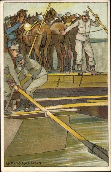 Künstler Ak Koch, Ludwig, Kuk Pioniere auf einer Fähre, Pferdetransport