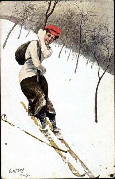 Künstler Ak Merté, Oskar, Frau auf Skiern, Auffahrunfall an einem Baum