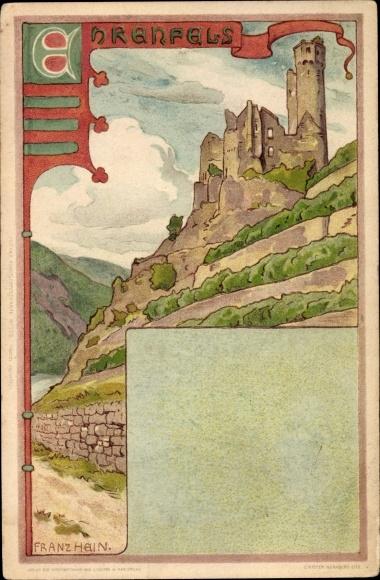 Künstler Litho Hein, Franz, Rüdesheim am Rhein in Hessen, Ruine Ehrenfels, Burg