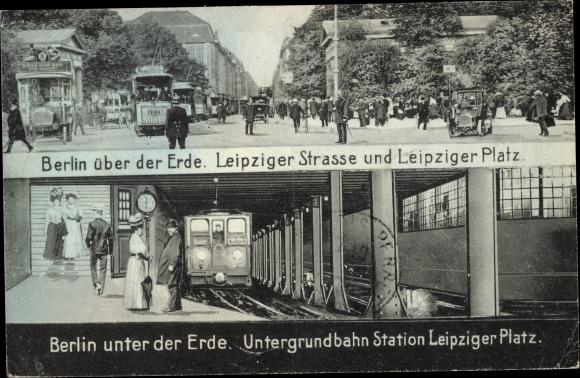 Ak Berlin Mitte, Leipziger Straße und Leipziger Platz, U-Bahn Station