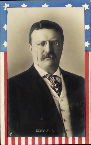 Passepartout Ak Theodore Roosevelt, 26. Präsident der Vereinigten Staaten, Portrait