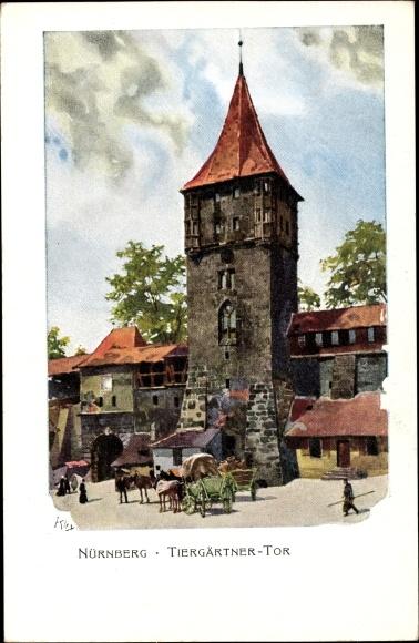 Künstler Litho Kley, Heinrich, Nürnberg Mittelfranken, Tiergärtner Tor, Bayr. Landesausstellung 1906