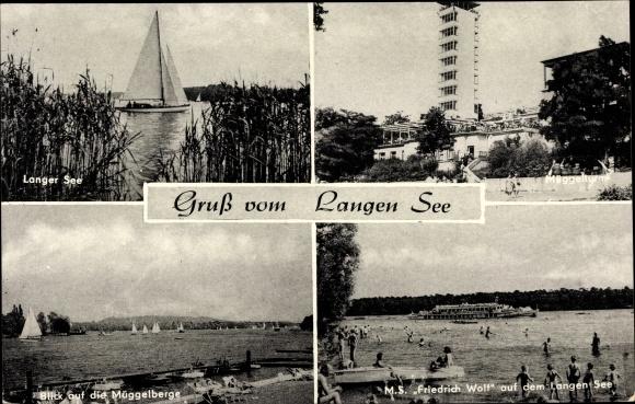 Ak Berlin Köpenick, M. S. Friedrich Wolf auf dem Langen See, Müggelturm