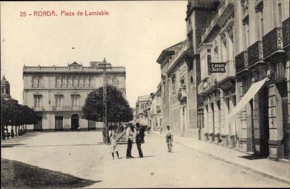 Ak Ronda Andalusien Spanien, Plaza de Lamiable, V. Bravo Sastre
