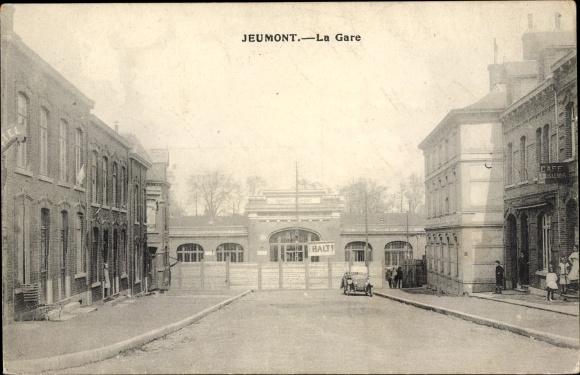 Ak Jeumont Nord, La Gare, Bahnhof, Café Louis Lenoir