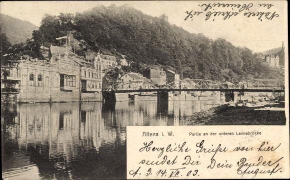 Ak Altena im Märkischen Kreis, Partie an der unteren Lennebrücke, Zum Markaner