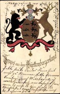 Präge Wappen Ak Gruß aus dem Württemberger Land