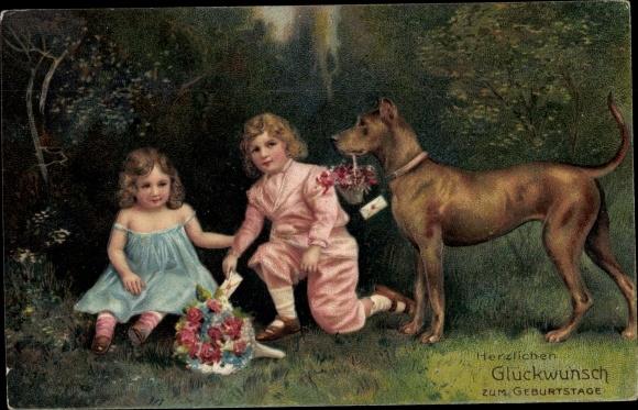 Präge Ak Glückwunsch Geburtstag, Kinder, Blumenstrauß, Dogge