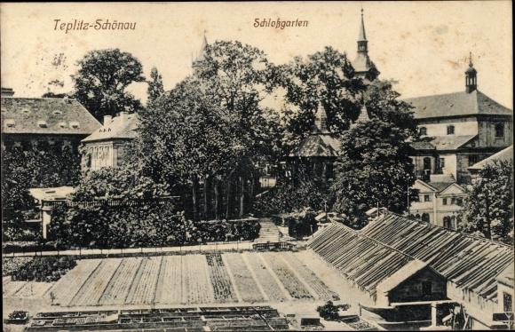 Ak Teplice Teplitz Schönau Reg. Aussig, Schlossgarten
