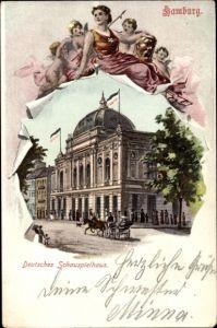 Passepartout Ak Hamburg Mitte Altstadt, Straßenpartie mit Blick auf das Deutsche Schauspielhaus