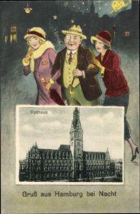 Passepartout Ak Hamburg Mitte Altstadt, Blick auf das Rathaus, Mann mit zwei jungen Frauen