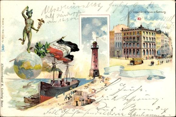 Litho Hamburg Mitte Altstadt, Geschäftshaus, Leuchtturm, Merkur auf Weltkugel, Leuchtturm