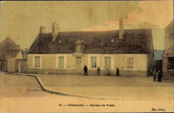 Ak Villemurlin Loiret, Bureau de Poste, Straßenpartie mit Blick auf das Postamt