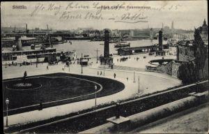 Ak Szczecin Stettin Pommern, Blick von der Hakenterrasse, Hafen, Salondampfer, Brücke
