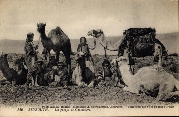 Ak Beirut Beyrouth Libanon, Un groupe de Chameliers, Kamele mit Arabern