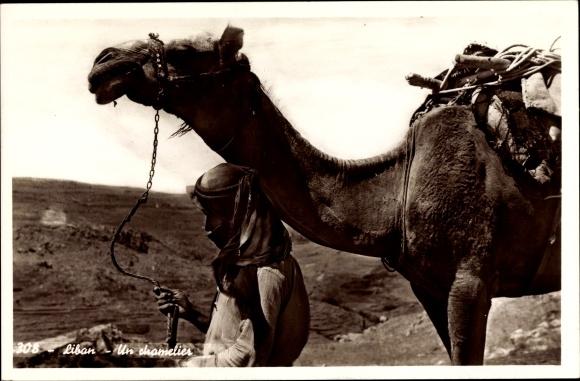 Ak Libanon, Un chamelier, Kamelführer mit Kamel, Araber