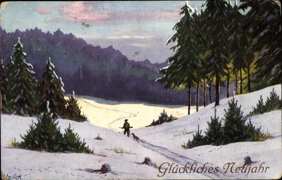 Künstler Ak Mailick, Glückwunsch Neujahr, Jäger mit Hund im Schnee, Wald