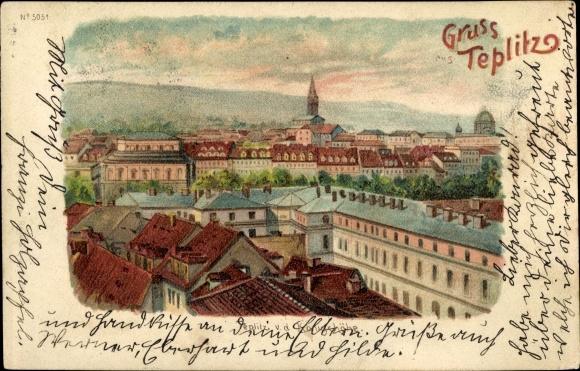 Litho Teplice Teplitz Schönau Reg. Aussig, Blick von der Königshöhe