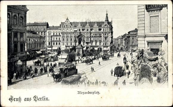 Ak Berlin Mitte, Partie am Alexanderplatz, Berolina Statue, Grand Hotel, Loeser & Wolf, Pferdebahn