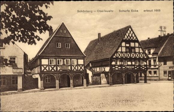 Ak Sulików Schönberg Oberlausitz Schlesien, Scharfe Ecke, Friseur, Geschäft Alfred Seidel