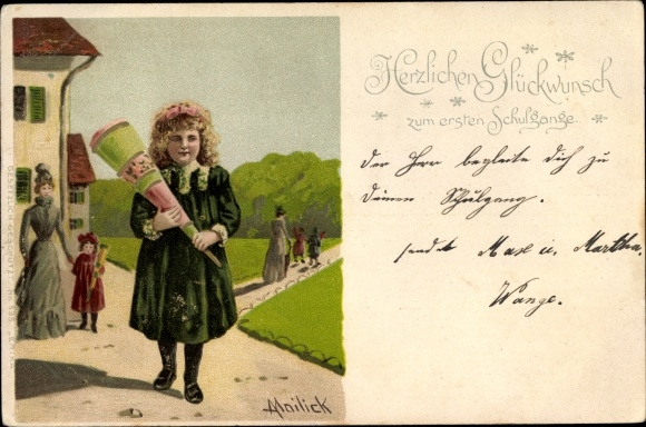 Künstler Litho Mailick, Glückwunsch Einschulung, Mädchen mit Zuckertüte