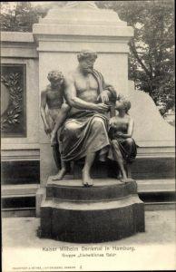 Ak Hamburg Mitte Altstadt, Teilansicht vom Kaiser Wilhelm Denkmal, Gruppe Einheitliches Geld