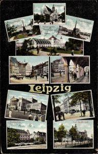 Ak Leipzig in Sachsen, Augustusplatz, Carl Tauchnitzstraße, Hauptpostamt, Theater, Tomasring