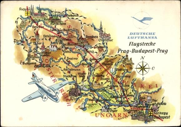 Flugstrecken Ak Deutsche Lufthansa, Flugstrecke Prag Budapest