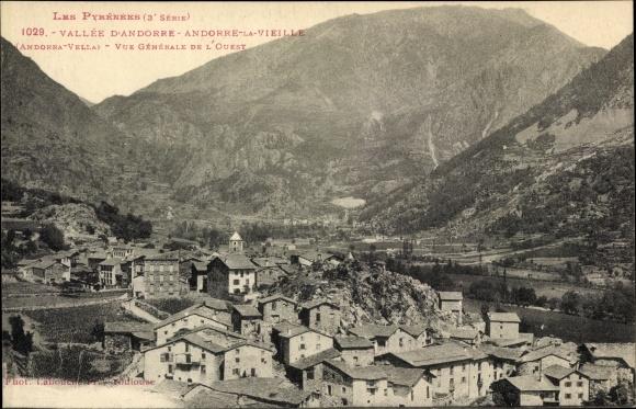 Ak Andorra la Vella Andorra, Vue Generale de l'Ouest