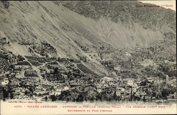 Ak Andorra la Vella Andorra, Vue generale, Ravinements du Puig d'Anclar