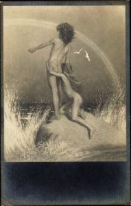 Jugendstil Ak Fidus, Auf der Klippe, Handkupferdruck, Nr 29