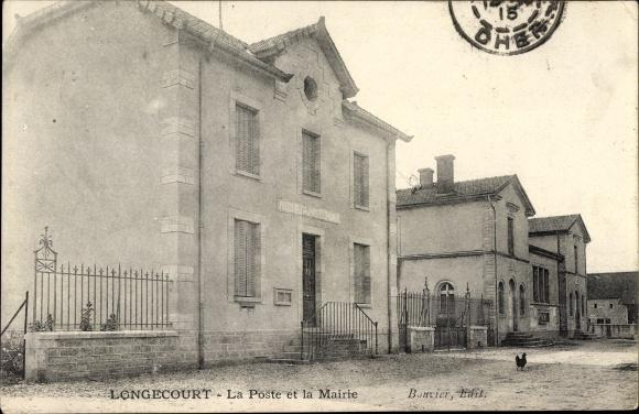 Ak Longecourt Cote d'Or, La Poste et la Mairie, Straßenpartie mit Postamt und Rathaus