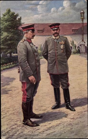 Ak Kaiser Wilhelm II. von Preußen, Generalfeldmarschall Paul von Hindenburg, Zigarette, RPH