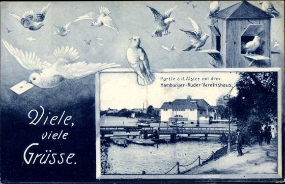 Passepartout Ak Hamburg Mitte St. Georg, Partie an der Alster mit dem Hamburger Ruder Vereinshaus