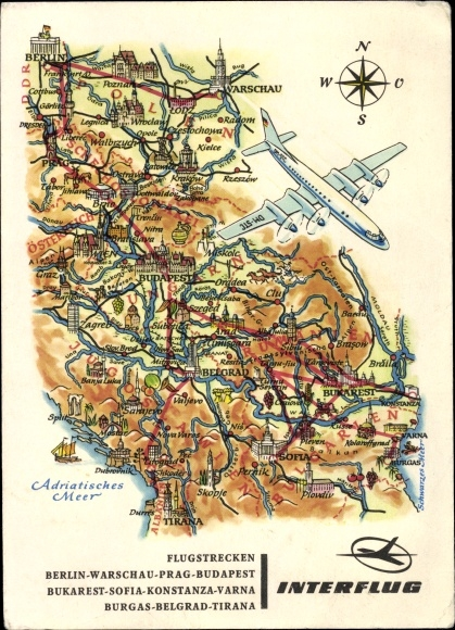 Flugstrecken Ak Interflug, Berlin-Warschau-Prag-Budapest, Bukarest-Sofia-Konstanza-Varna, A. Hoppe