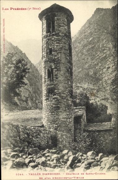 Ak Andorre la Vieille Andorra, Vallée, d'Andorre, Chapelle de Santa Coloma, Pyrenäen
