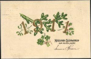 Präge Litho Glückwunsch Neujahr, Jahreszahl 1911, Kleeblätter, Tannenzweig