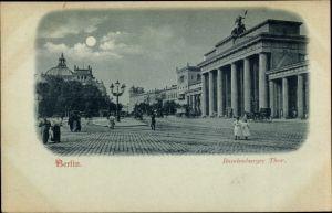 Mondschein Ak Berlin Mitte, Partie am Brandenburger Tor