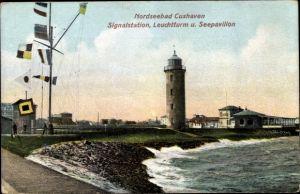 Relief Ak Cuxhaven in Niedersachsen, Signalstation, Leuchtturm, Seepavillon