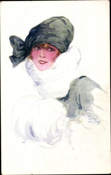 Künstler Ak Kalous, Gret, Frauenportrait, Junge Frau in Wintermantel, Wintermütze