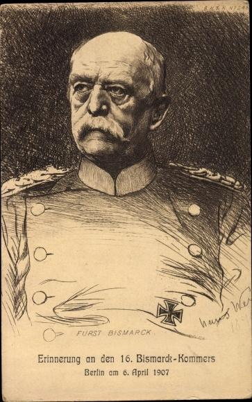 Künstler Ak Otto von Bismarck, Herzog zu Lauenburg, Berlin, Bismarck Kommers am 6. April 1907