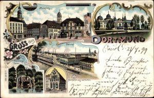 Litho Dortmund im Ruhrgebiet, Marktplatz, Fredenbaum, Bahnhof, Gildenhaus, Kronenburger Garten