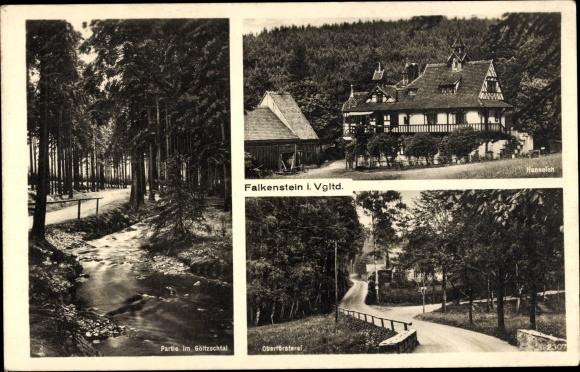Ak Falkenstein im Vogtland Sachsen, Göltzschtal, Hanneloh, Oberförsterei
