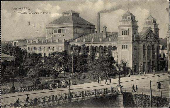Ak Bydgoszcz Bromberg Westpreußen, Theater und Danziger Brücke