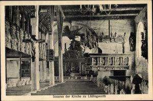 Ak Lüdingworth Cuxhaven in Niedersachsen, Innenansicht der Kirche, Altar, Gebetsbänke